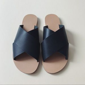 Topshop Black Leather Crossover Flat Sandals